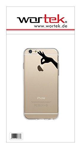 wortek Designer High Quality TPU Silikon - Case Schutzhülle Transparent mit Logo Motiv für Apple iPhone 6 / 6S (Schmetterling 1) Hand