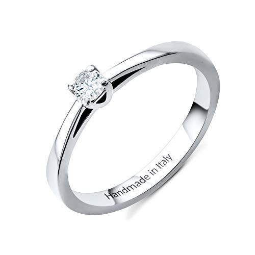 Orovi Damen Diamant Ring Weißgold, Verlobungsring 14 Karat (585) Gold und Diamant Brillanten 0.1 Ct, Solitärring Ring Handgemacht in Italien (Ring Diamant Damen Weißgold)