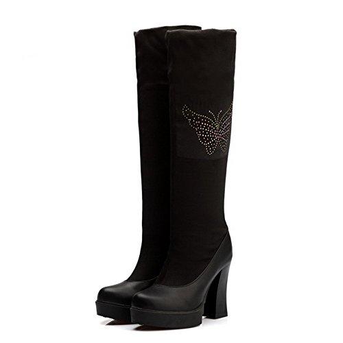 AgooLar Damen Rund Zehe Blend-Materialien Hoch-Spitze Beschlagene Strass Stiefel Schwarz