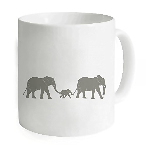 """okoukiu elefante famiglia Mug-Tazza da tè personalizzato regalo per compleanno, Natale e nuovo year-3.7""""X 3.1"""", 11oz"""