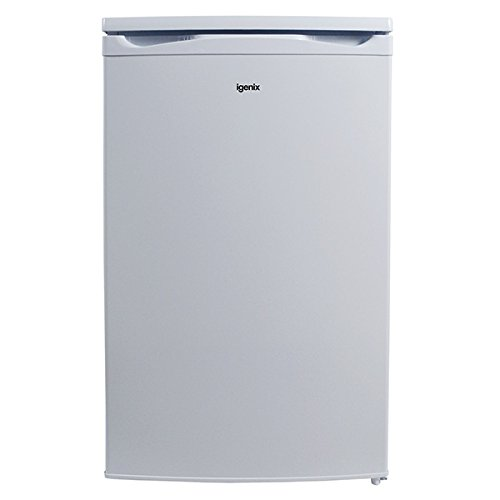 Igenix IG350R Wide Freestanding Under Counter Fridge with Ice Box, 1 Adjustable Glass Shelf and Salad Drawer with Glass Cover, Reversible Door, 100 Litre Capacity, 50 cm, White