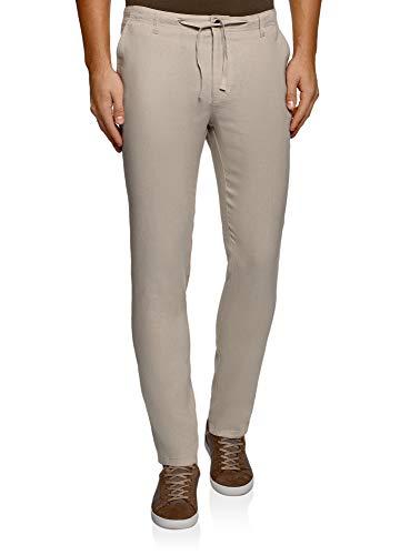 oodji Ultra Hombre Pantalones de Lino con Cordones, Beige, ES 48 (XL)