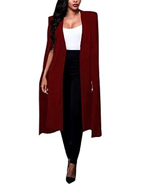 Blazer Mujer Negro Otoño Elegantes Moda Poncho Color Sólido Irregular Negocios Anchos Party Y Largas Secciones...