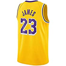 WELETION Los Angeles Lakers Jersey 23# Lebron James Male Baloncesto Ropa (S, Amarillo