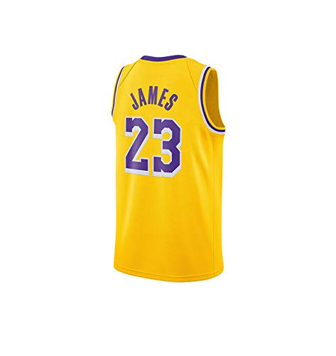 WELETION Los Angeles Lakers Trikot 23# Lebron James Herren Basketball T-Shirt(L(50), Gelb)