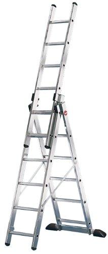 Hailo ProfiStep-Combi - Escalera industrial 3 tramos de aluminio con estabilizador recto 3 x 6 peldaños...