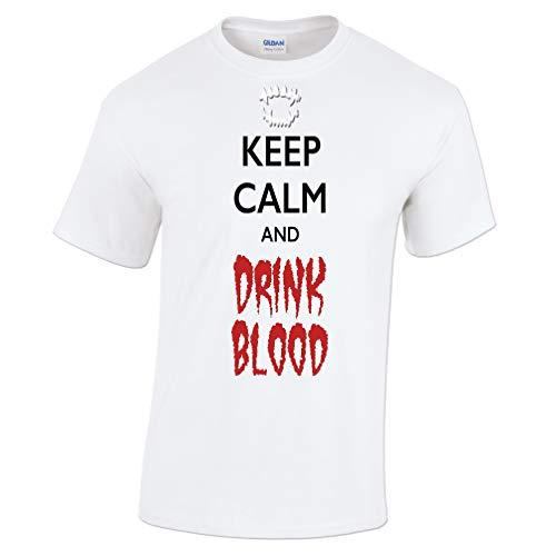 Halloween T-Shirt Halten Sie Ruhe und Trinken Blut White XXX-Large