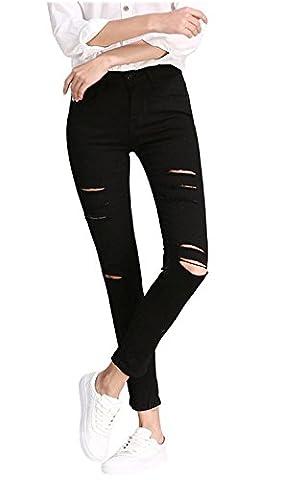 Minetom Femme Printemps Moulant Taille Haute Stretch Troué Slim Leggings Collant Skinny Longues Crayon Jeans Pantalon Noir FR 36