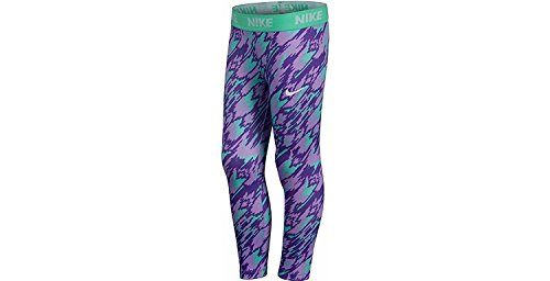 Nike Little Girls' Sport Essentials Printed Leggings (4, Urban Lilac (P45)/White/Reflective Silver) (Nike Spandex Mädchen Für)