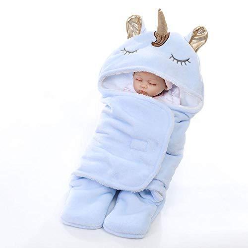 Glrero sacchi nanna per bambino,doppio strato flanella unicorno coperta spessa coperta del bambino sacco a pelo per bambino 0-12 mesi blue-onesize