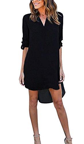 ASSKDAN Mini Hemdkleid Chiffon Lange Ärmel  V Ausschnitt Casual Blusenkleid Minikleid - Herbst 2030,40/L,Schwarz