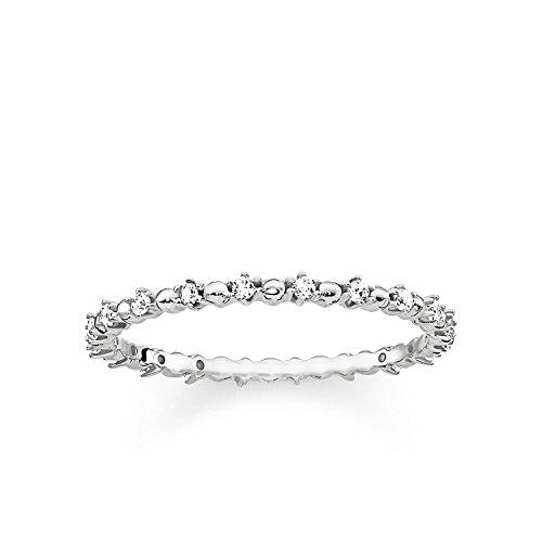 Weiß Stein Ring (THOMAS SABO Damen Ring Dots mit weißen Steinen 925er Sterlingsilber TR2153-051-14)