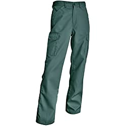 Smart workwear Hommes pantalons de travail poches multiples drill KG cargo (42, Green)