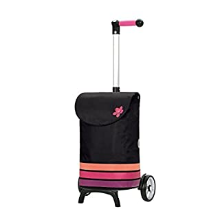 Andersen Shopping trolley Unus Fun with bag Blom pink, Volume 49L, ergonomic handle and aluminium frame