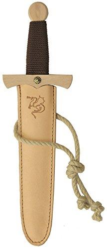 Piraten Schwert Kostüm - Stabiles Drachendolchset, 35cm Länge mit Drachendolch aus Buche-Echtholz und Dolch-Scheide aus Echtleder [Tolles Drachen-Design | Viele Details| Made in Germany]