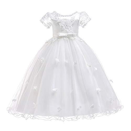 XFentech Ballkleid - Mädchen Hochzeit Brautjungfer Kurzarm Blütenblatt Karneval Wirt Kleid Spitze Schichtung Ballkleid,Weiß,EU 160cm=Tag 170cm