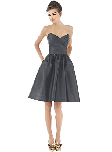 Azbro Women's Fashion Solid Strapless A-line Cocktail Dress Deep Grey