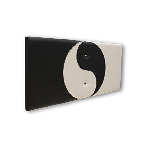 Ventadecolchones - Cabecero modelo Ying Yang tapizado en polipiel Negro y polipiel Blanco medidas 91 x 70 cm (para camas de 80 ó 90 cm)