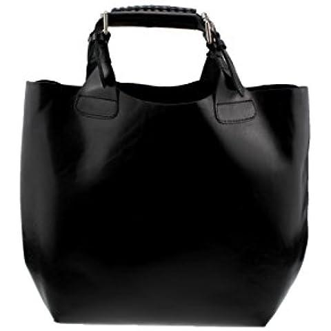 bag2basics Jolie - Bolso de tela de Piel para mujer Negro negro One Size