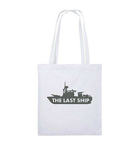 Comedy Bags - THE LAST SHIP - Jutebeutel - lange Henkel - 38x42cm - Farbe: Schwarz / Silber Weiss / Grau