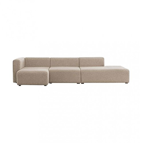 HAY Mags Lounge Sofa Chaiselongue links, beige Stoff Remix 233 Chaiselongue links