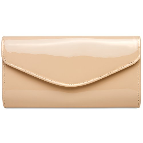 42a9b7fcfb3b5 CASPAR TA407 elegante Damen Metallic Lack Clutch Tasche Abendtasche mit  langer Kette