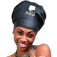 Bonnet de Bain en Silicone par Happy Mane pour Dreadlocks, Tresses, Tissage, Our tete Moyenne et Large, Noir.