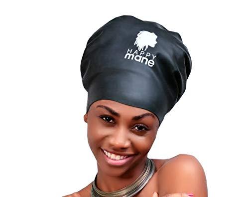 Happy criniera premium xl cuffia da nuoto in silicone per capelli lunghi capelli rasta, trecce, weave on, extension, tick afro, per media/grande testa. uomini e donne (nero), nero, xl