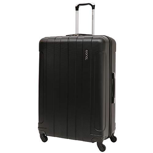 EONO Essentials Trolley in ABS - Bagaglio da Stiva anti-urto e antigraffio - Valigia rigida e leggera Grande con 4 Ruote, Misure 81cm, Capienza 126L, Nero