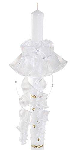 deine-Brautmode Kerzenschmuck Kerzentuch Kerzenrock Tropfschutz für Kerze Kommunion Taufe Hochzeit Weiß