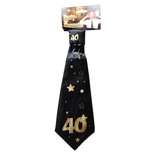 """Udo Schmidt GmbH & Co Party-Krawatte mit Einer großen 40"""" in Schwarz Gold Birthday Geburtstag Party Deko Scherz-Krawatte"""