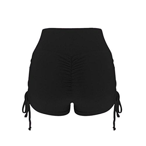 Pantalones Mujer Verano,KanLin1986 Leggins Mujer Push up Gimnasio Sport Jogging Shorts Mujer Tiro Alto Pantalon Bermudas Leggins Deportivos Pantalones Deporte (S:Cintura: 56-7cm, Negro)