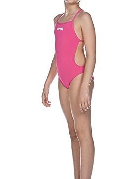 Arena–Bañador para niña Solid Ligh Tech Junior rosa fresia rose/White Talla:10 años (140 cm)