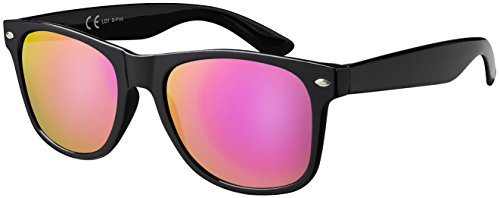 Sonnenbrille La Optica UV 400 CAT 3 Damen Fashion Mode - Einzelpack Glänzend Schwarz (Gläser: Pink/Rosa Verspiegelt)
