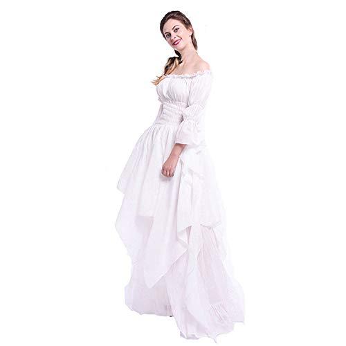 Sannysis Damen Maxikleid Langes Elegantes Kleid Mittelalterlichen Retro Trompetenärmel Prinzessin Kleid Abendkleider Cocktailkleid -