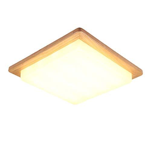 Holz-quadrat-lampe (MWPO Deckenleuchte, Deckenleuchten Nordic LED Deckenleuchte Wohnzimmer Arbeitszimmer Quadrat Massivholz Lampen Holz Schlafzimmer Deckenleuchte [Energieklasse A ++])