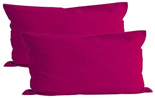 Paket mit 2 x beties Basic Kissenbezug ca. 40x80 cm 100% Baumwolle in 14 fröhlichen Unifarben (Pink)