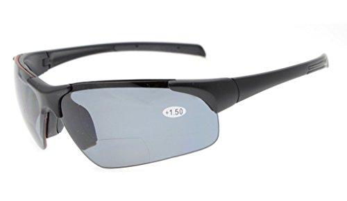 Eyekepper TR90 Unzerbrechlich Sport Polycarbonat Polarisierte Halbrandlose Bifokale Sonnenbrille Baseball Laufen Angeln Fahren Golf Softball Wandern Matte Schwarz Rahmen Grau Objektiv +3.0