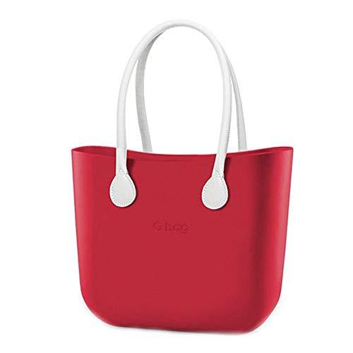 OBAG Große Tasche oder Tasche rot mit Innentasche und langem Griff aus Seil beige new collection P\E 2018 (k)