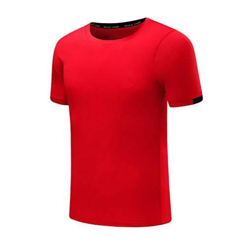 Celucke Herren Laufshirts Sport Funktionsshirt Performance T-Shirt für Fitness, Männer Compression Shirt Trainingsshirt Kompressionsshirt Kurzarm Rundhals Stretch Pro Dry (Rot,XXXL)