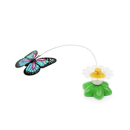 Fliyeong Schmetterlingsspielzeug für Katzen Haustier Katzen Lustig Rotierend Elektro Fliegen Schmetterling Interaktives Katzenspielzeug