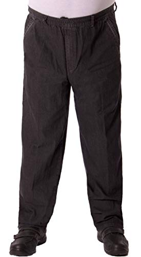 FASHION YOU WANT Herren Senioren Jeans Schlupfhose für Opas mit rundum Gummizug und Seitentaschen (48 (M), Jeans schwarz)