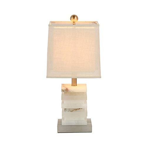 E27 Jade Tischlampe Modern Einfache Art Für Hotel Schlafzimmer Wohnzimmer Bedside Dekoration Weberei Lampenschirm Galvanisch Metall Jade Schreibtisch Lampen Höhe 53CM,1Pack - Jade-glas-schreibtisch