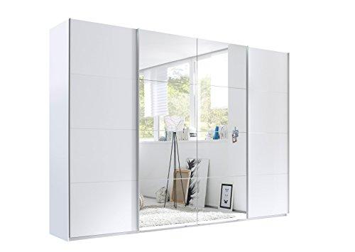 Stella Trading Synchro 4-türiger Kleiderschrank, Holz, weiß / spiegel, 60 x 270 x 226 cm
