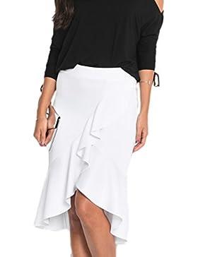 Las Mujeres Elegantes Volantes Asimétricos De Cintura Alta Falda Bodycon Parte