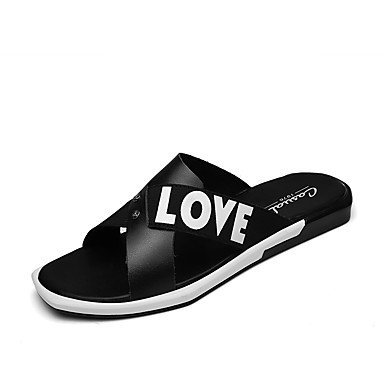 Slippers & amp da uomo; Estate Comfort Light Suole PU Casual Sandali Nero Bianco sandali US6-6.5 / EU38 / UK5-5.5 / CN38