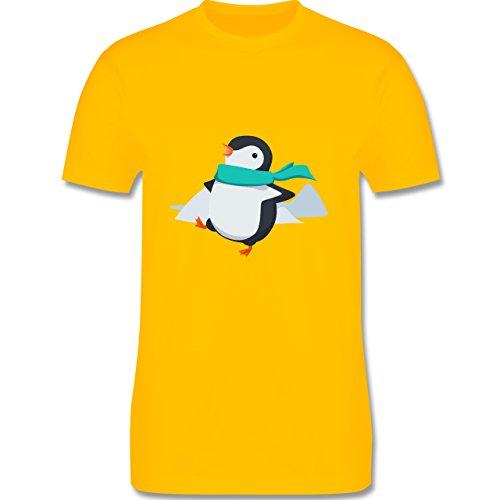 Wildnis - Happy Pinguin - Herren Premium T-Shirt Gelb