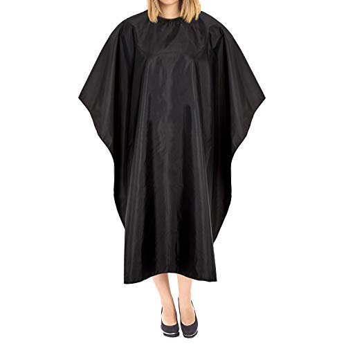 LUUK & KLAAS mantella da parrucchiere con chiusura velcro nero mantella per il taglio dei capelli