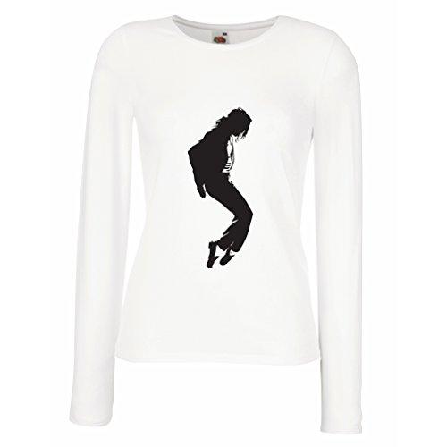 Camisetas de Manga Larga para Mujer Me Encanta MJ - Ropa de Club de Fans, Ropa de Concierto (Large Blanco Negro)