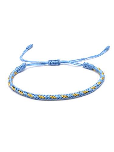 BENAVA Tibetisches Armband Glücksarmband – Freundschaftsarmband Geflochten Blau Gold